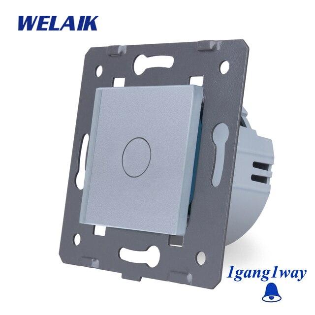 WELAIK EU Glass-Panel Wall-Switch EU DoorBell-Touch Switch-DIY Parts-Light-Switch 1gang-1way AC250V A911MLW