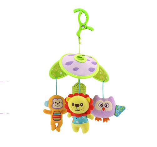 Plush Musical Toys For Infant Old Plastic Rattles Bed Wind Bell 0-12 Months Mobiles Cots Green Toys For Newborn Babies AA50YL