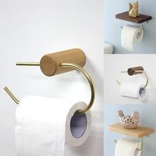 İskandinav banyo rulo tutucu pirinç katı ahşap duvar asılı peçete tutucu altın tuvalet kağıt havlu tutacağı mutfak storageshelf