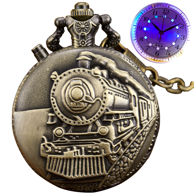 Luminous Dial Pocket Watch Laser Engraved Train Quartz LED Fob Chain Watches Men Antique Pendent Bronze Reloj Christmas Gifts