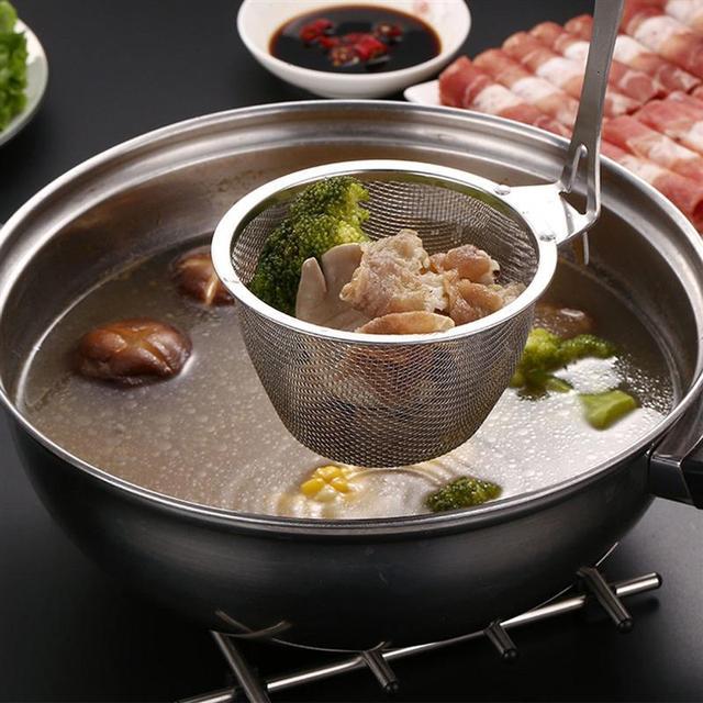 Tamiz de malla de acero inoxidable, colador de fideos, filtro profundo, colador de espagueti con mango de madera, utensilio de cocina para cocinar
