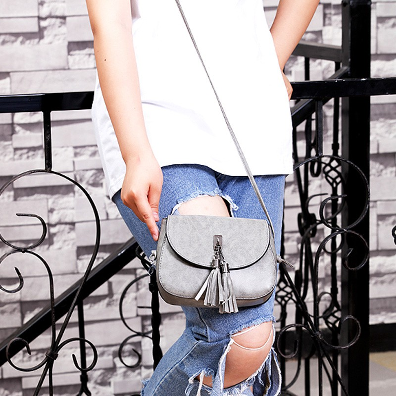 New Arrive Fashion PU Bags Tassel Shoulder Crossbody Bag Solid Fashion Single Flap Handbags
