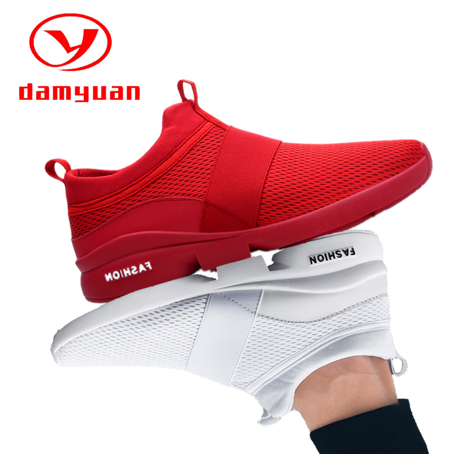 Red Shoes Mesh Casual Shoes Couple Lover Lightweight Running Shoes Plus Size Sneakers 46 Breathable Footwear Zapatillas Hombre
