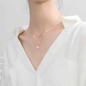 Image 5 - WANTME Fashion Echtes 100% 925 Sterling Silber Doppel Kreuz Seil Schlüsselbein Kette Runde Kristall Zirkon Anhänger Halskette Frauen