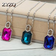 ZYZQ Vintage Party Accessories Necklace With Brilliant Crystal Stone Geometric Fashion Elegant Women Jewelry Hot Selling
