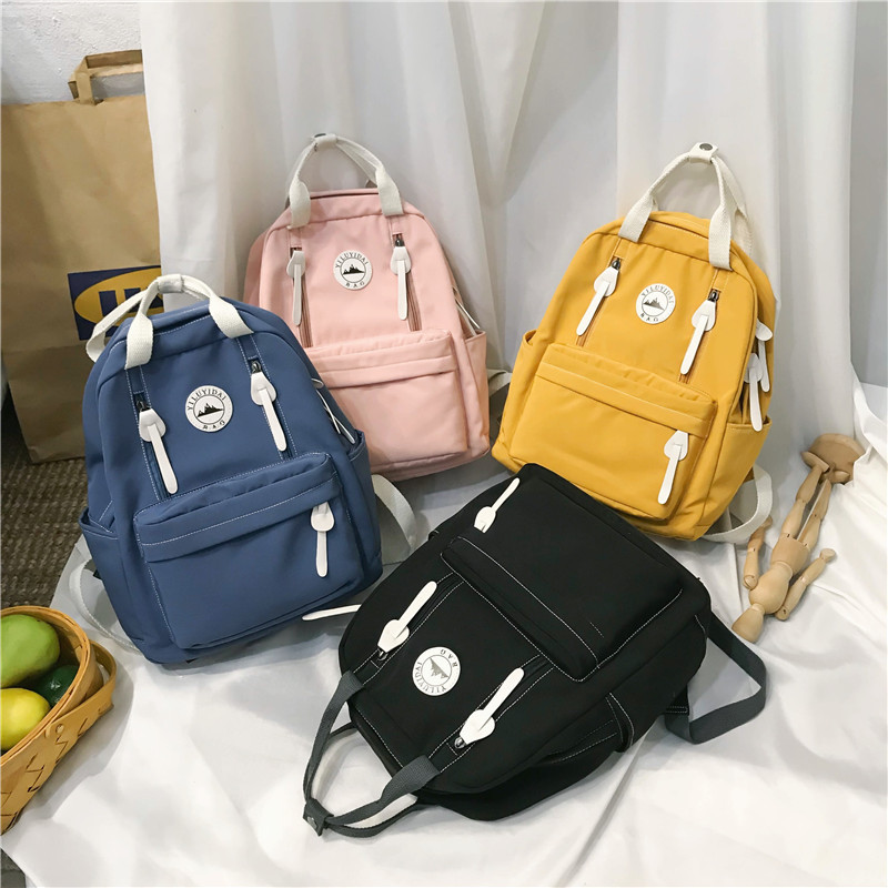 2019 New women backpack fashion backpack women solid color shoulder bag school bag for teenage girls kids backpacks travel bag image