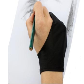 Black 2 Finger Anti-antyzabrudzeniowa rękawica zarówno dla prawej jak i lewej ręki rysunek artystyczny dla każdego Tablet graficzny do rysowania tanie i dobre opinie HY102 opp bag