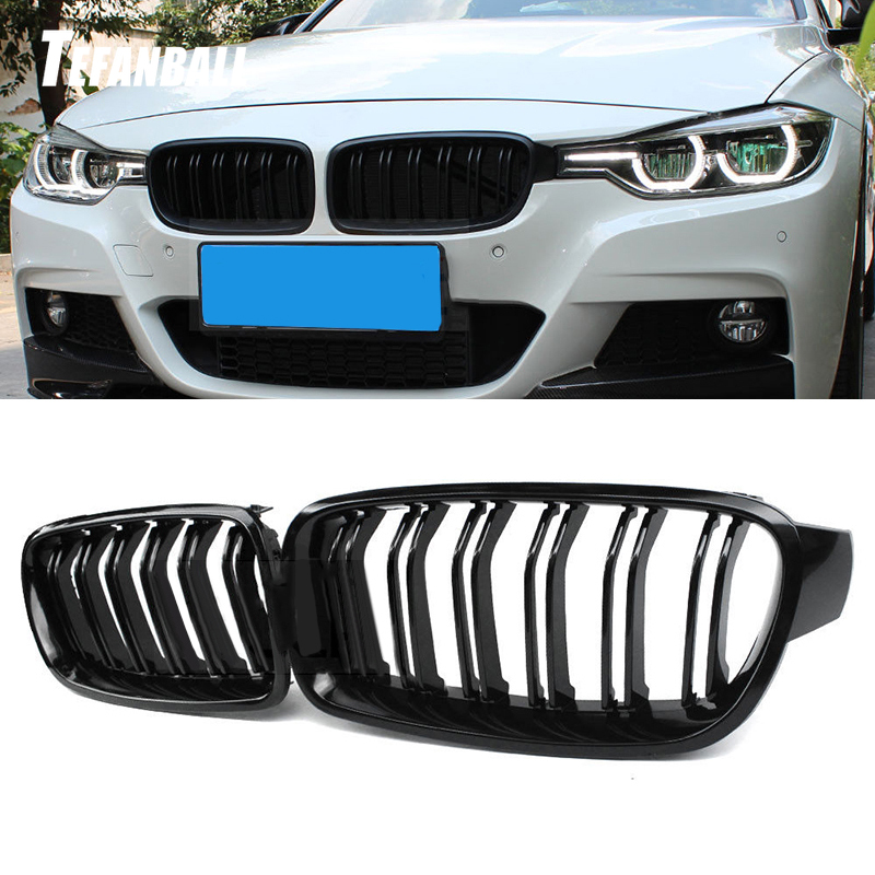 High Quality ABS Car Styling High Quality ABS Front Kidney <font><b>Grille</b></font> Dual Slat <font><b>Grille</b></font> For BMW <font><b>F30</b></font> F35 2012-2017 320i 325i 328i 335i image