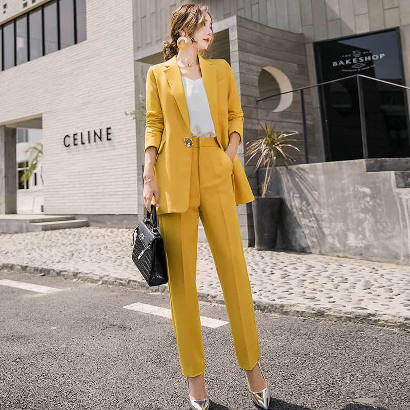 Women Clothes Casual Solid Women Pant Suits Notched Collar Blazer Jacket & Pencil Pant Yellow Female Suit Autumn High Quality