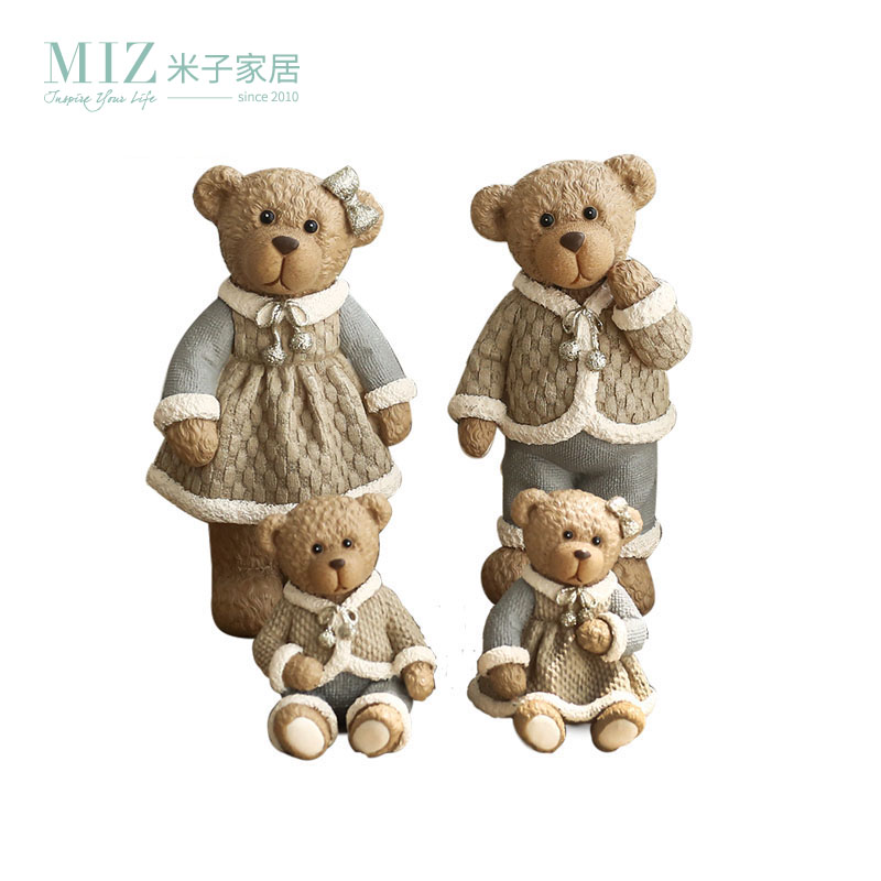 Miz Home 1 Set 4 Pieces Cute Resin Bear Family Gift for Friend Kid Decor Doll Packed NAR01000203