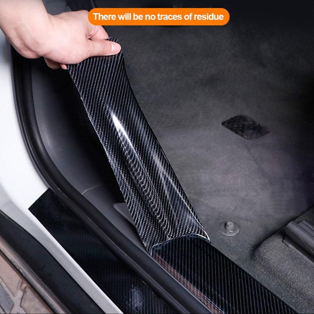 Autocollants de voiture en Fiber de carbone noir, ruban adhésif pour décoration de porte de voiture, Film de protection pour peinture, 3 5 7cm 10cm