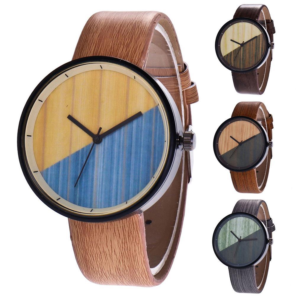 Unique Wood Grain Watch Unisex Round Dial Leather Strap Luxury Stylish Timepieces Quartz Wrist Watch Couple Watch High Quality
