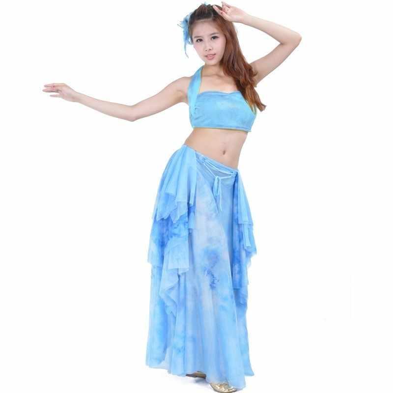 สีเหลือง Belly Dnace ชุดอินเดียเซ็กซี่เต้นรำ Orientale ยิปซีกระโปรงโมเดิร์น BellyDance เสื้อผ้าเครื่องแต่งกายเดรสอินเดีย Sari Vestidos
