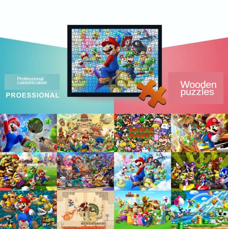 Wooden Puzzle 1000/500/300 Pieces Super Mario Adult Decompression Fancy Toy For Children Creative Gift