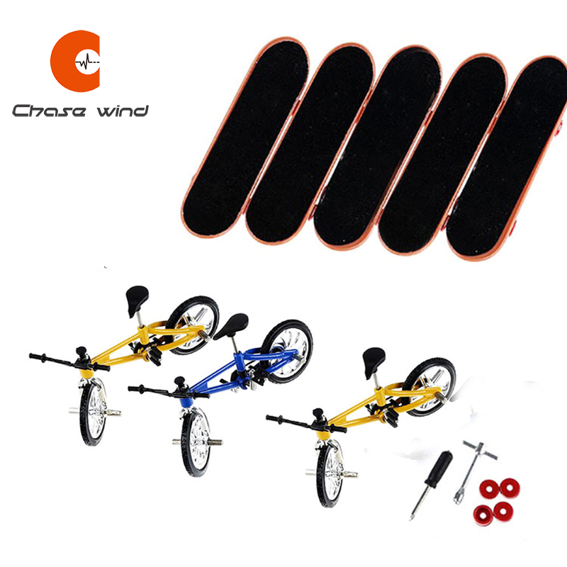 5 Fingerboards 3 Bicycles Finger Skateboard Alloy Bracket Double Rocker Gift For Extreme Sports Enthusiasts Suitable For All Age