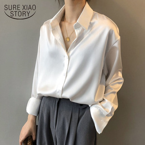 Autumn Fashion Button Up Satin Silk Shirt Vintage Blouse Women White Lady Long Sleeves Female Loose Street Shirts 11355