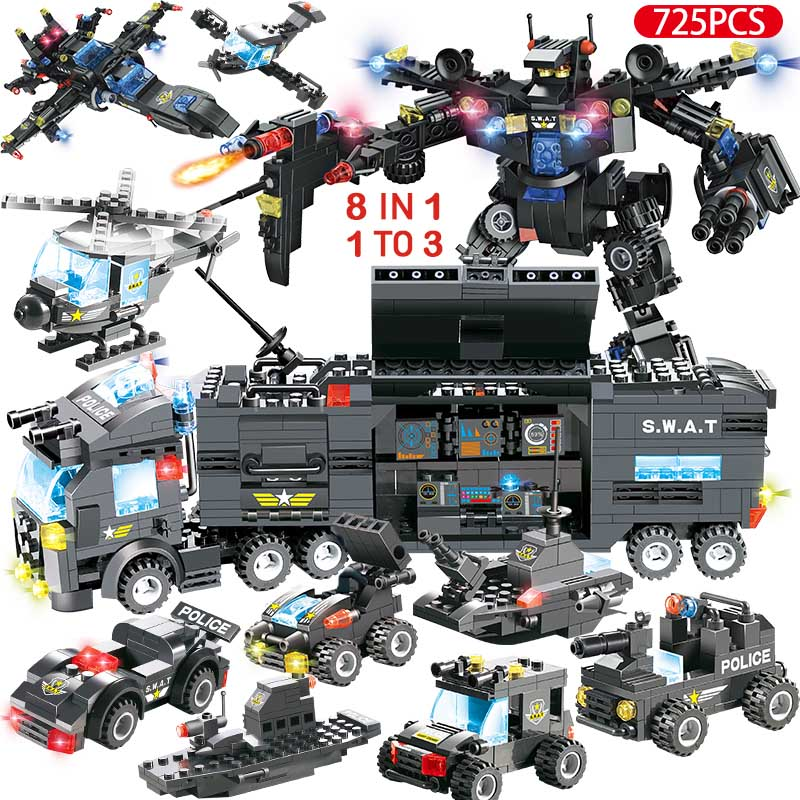 Image 3 - 1122pcs 8IN1 SWAT City Police Truck Car Building Blocks Compatible  City Police Station Bricks Toys for Boys ChildrenBlocks   -