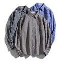 Рубашка CYSINCOS мужская с длинным рукавом, Классическая блуза из хлопка «Оксфорд», в синюю полоску, в деловом стиле, осень