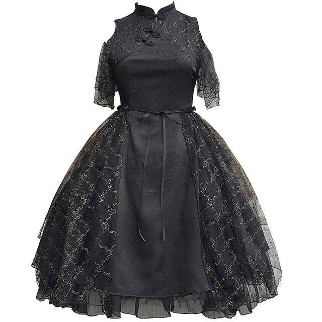 женское платье в китайском стиле cheongsam lolita черное лягушки фотография