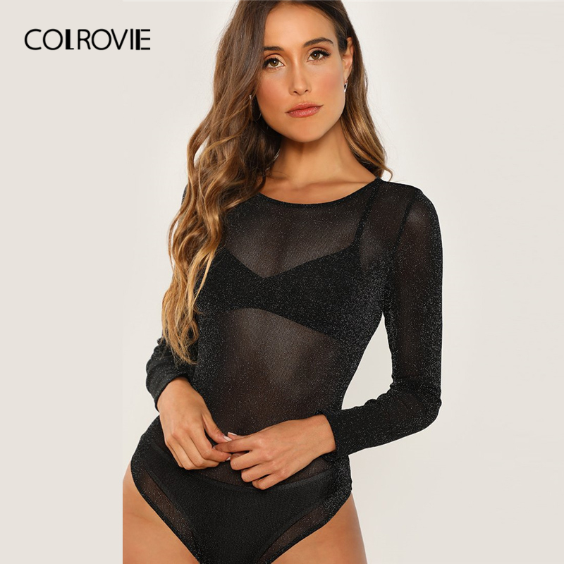 COLROVIE Black Long Sleeve Mesh Sheer Bodysuit Women 2019 Autumn Long Sleeve Skinny Sexy Solid Casual Glamorous Bodysuits