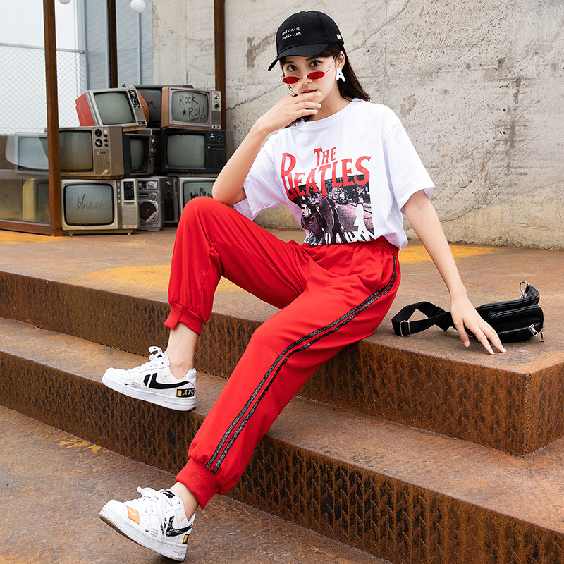 Korean-style Loose-Fit Women's Athletic Pants INS Trousers Casual Pants Harem Pants Versatile White Sleeves Tops Short Sleeve Tw