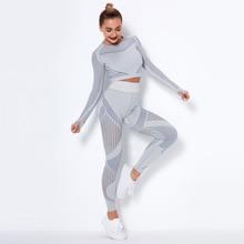 CHRLEISURE Mesh Yoga Set Seamless Sports Suit Women Fitness Clothing Long Sleeve Shirt Push Up Sportswear Work Out Gym Leggings