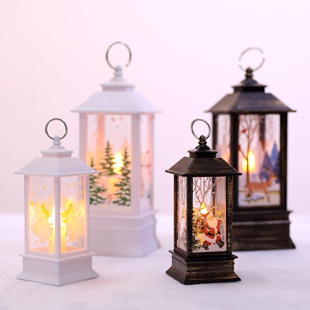 Fairy Christmas Santa Claus//Snowman//Elk Castle Lamp Night Light Hanging Lantern