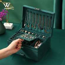 2021 New Green Flannel Stud Jewelry Organizer 3-layers Large Ring Necklace Makeup Cases Velvet Jewelry Box with Lock for Women