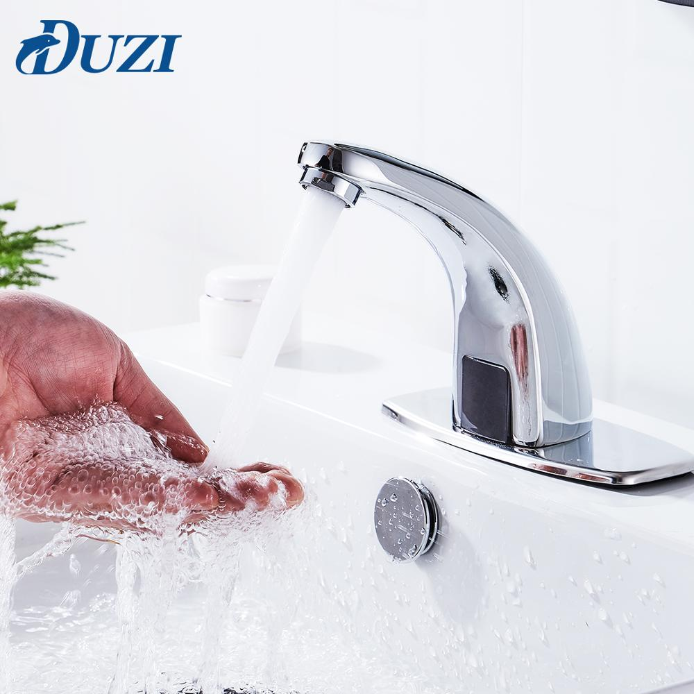 Touchless Bathroom Sink Faucets Battery Powered Automatic Taps Infrared Sensor Mixer Taps Single Cold Water Hands-Free Faucets