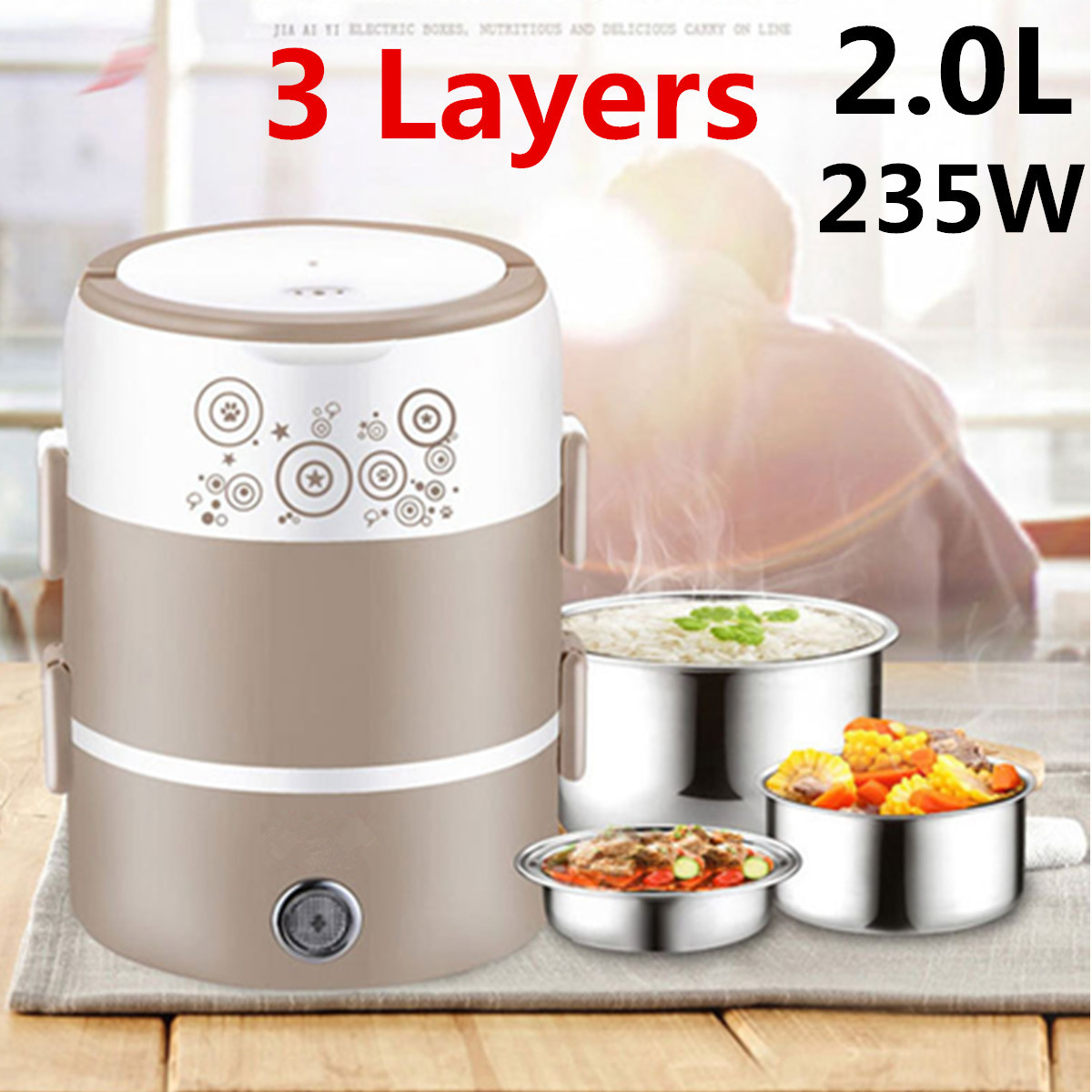 3 Layer 2L Electric Lunch Box Auto-Off 220V Stainless Steel Heater Food Warmer Heating Container Insulation School Bento Box
