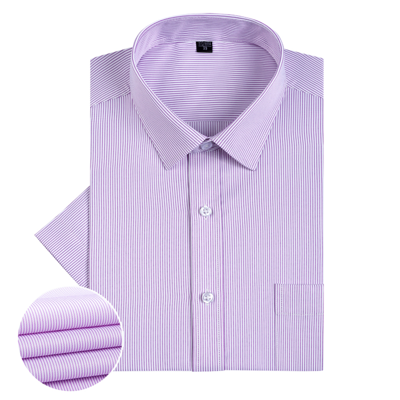 2020 Summer Short Sleeve Dress Shirts For Men Stripe Slim Fit Fashion Casual Social Shirt Formal Clothing