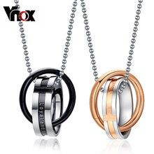 Vnox sonsuz aşk çift kolye kolye paslanmaz çelik çift döngü çiftler için düğün noel takı