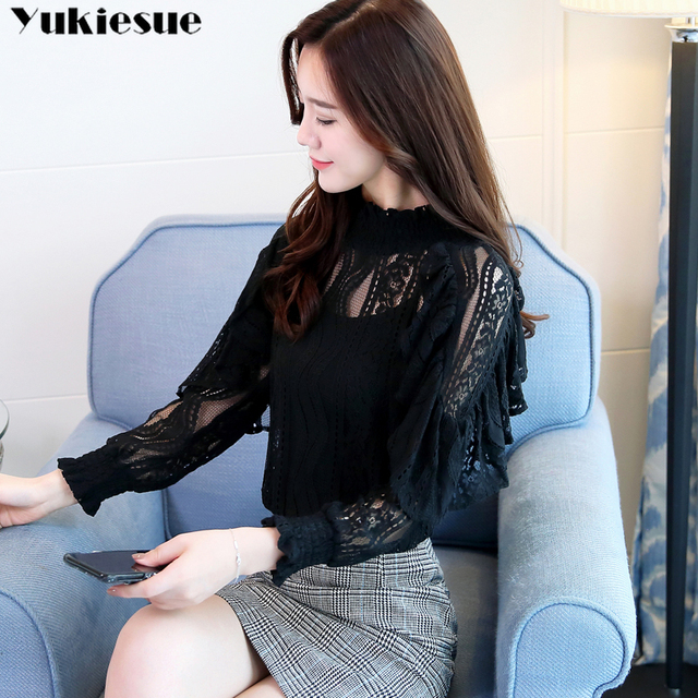 Spring Stand Collar Hollow Out Blouse Elegant ruffless Office Lady black Shirt  Women Long Sleeve Lace Tops Blusa Streetwear 4