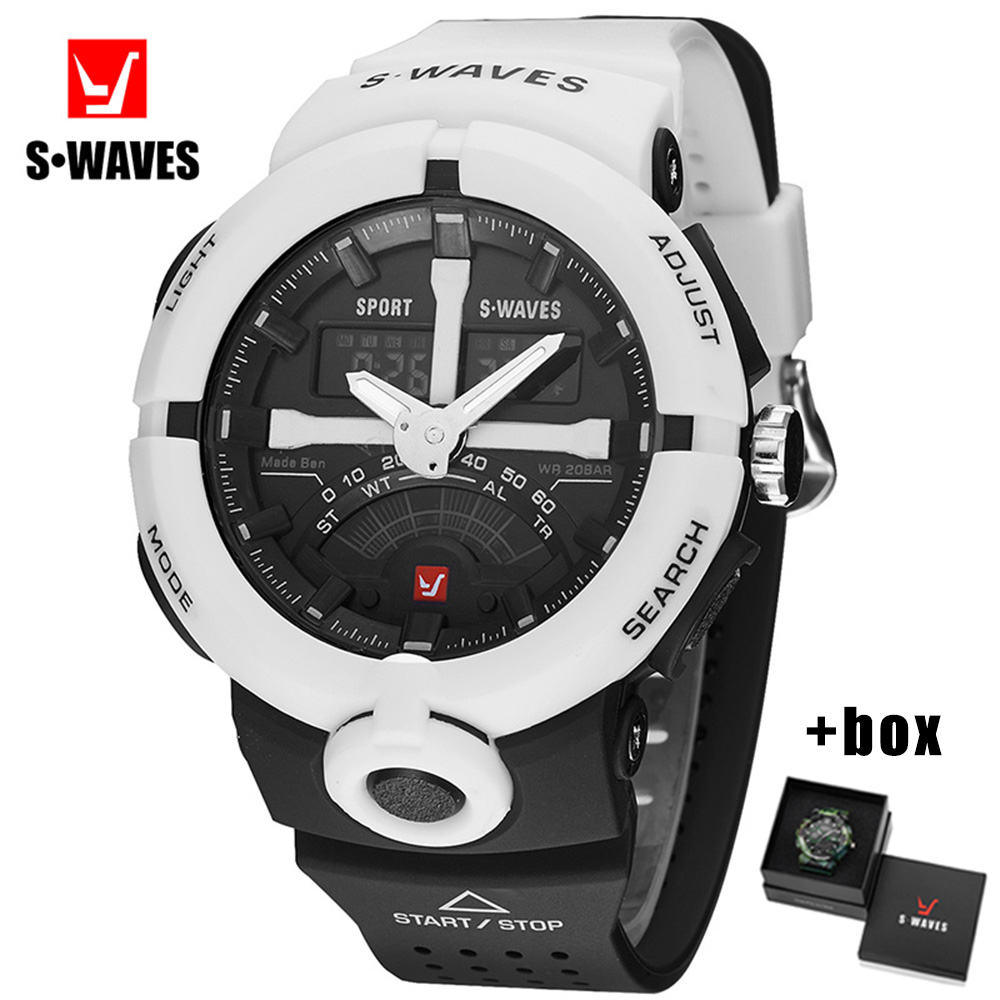 SWAVES Dual Display Wristwatch Mens With Box Plastic Electronic Clock Mens Waterproof Watches LCD Quartz Military Relojes Hombre