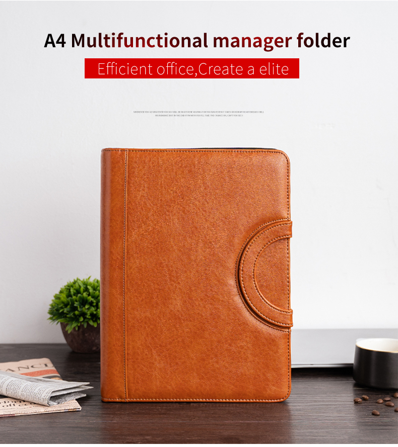 A4 Document Folder Padfolio PU Leather Zipped Business Office School Supply file folder manager
