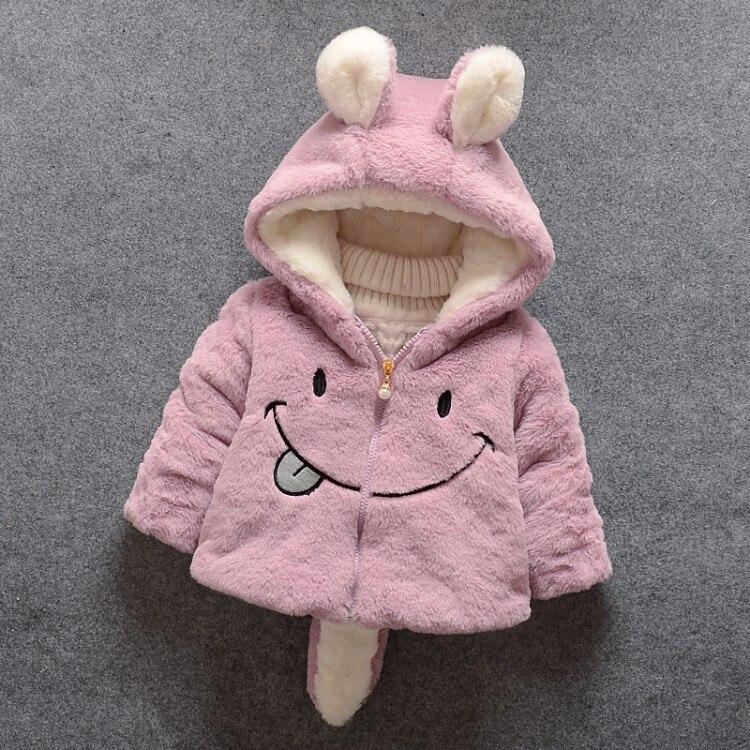 Baby girl winter coat girl rabbit ears hooded coat wool sweater cartoon smiling face plus velvet thick warm plush coat baby coat 3