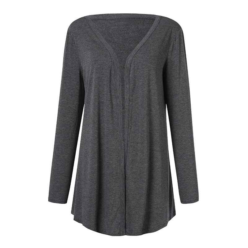 2020 European And American Ladies' New Solid Color Cardigan V-neck Mid-length Top  923