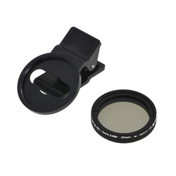 Adjustable 37mm Neutral Density Clipon ND2 ND400 Phone Camera Filter Lens for iPhone Huawei Samsung Android IOS Mobile