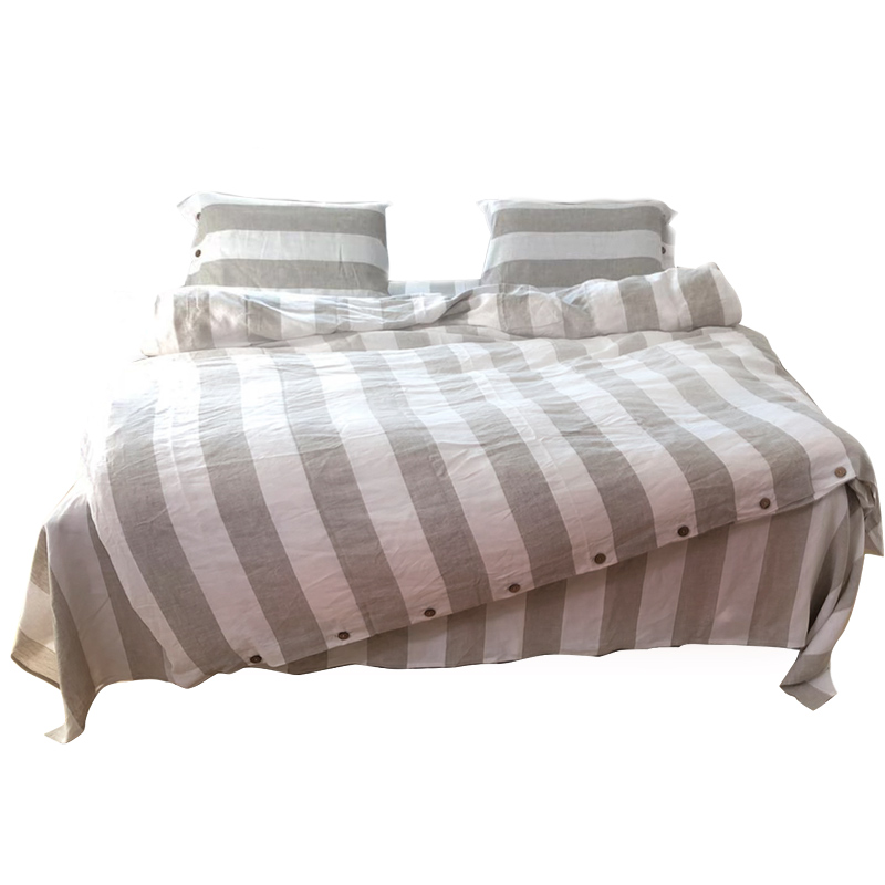 4Pcs 100% Linen Stripe Yarn-dyed Bedding Set Static-free European Double Custom Flat / Fitted Sheet  King Size Comforter Set