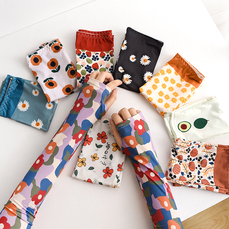 1pairs Floral Print Summer Outdoor Sunscreen Ice Sleeves Gloves Cycling To Cover UV Ice Silk Long Sleeves For Women Korean Style