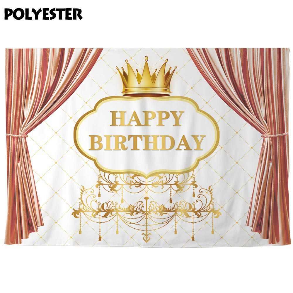 Allenjoy zagłówek tło tkaniny złota korona z okazji urodzin Curatian Stage banery Photozone Baby Shower Event dekory