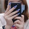 24 шт. полное покрытие ногати искусственные сплошной цвет ногти балерины Съемная накладные ногти Пресс на рисунки на ногтях поддельные Мани...