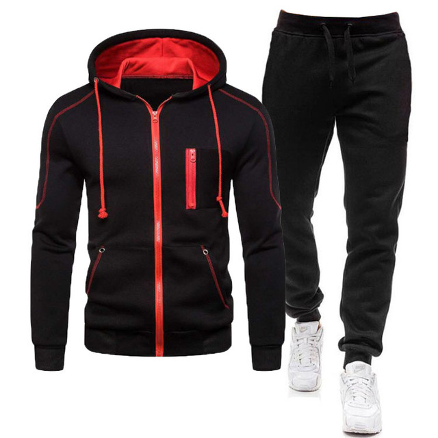 2 Pieces Sets Tracksuit Men Autumn Zipper Hoodie Sweatshirt+pants Solid Sporting Fitness Hooded Outerwear Jacket Joggers Suit 2