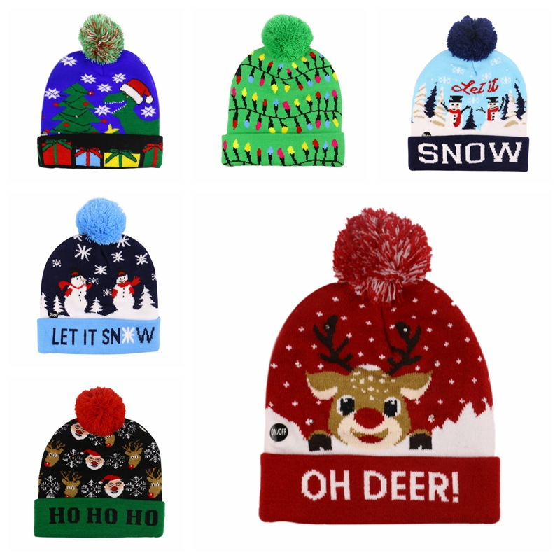 2019 Women Men Christmas Oh Deer Beanie Skullies Elk Embroidery Warm LED Knitted Winter Hats Bonnet Cap With Pompom