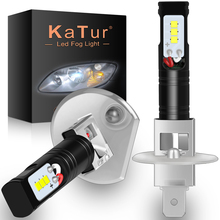 Katur 2pcs H1 Led Bulbs for Cars CSP LED Chips Bulb Auto Led Light Fog Lamp Super Bright Auto Running Lights 6500K White DC12V