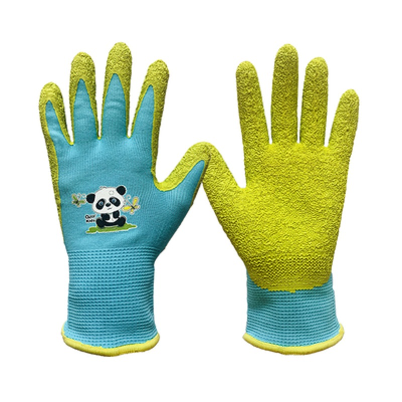 Gardening Gloves For Kids 4-13 Year-old Latex Nylon Protective Anti-piercing Water-proof Wrinkled Palm Planting Outdoors