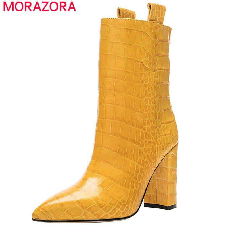 MORAZORA/2020 г., Новое поступление, женские ботильоны осенние ботинки на высоком каблуке с острым носком Классические Вечерние туфли женские большие размеры 48