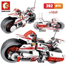 Building-Blocks Moto Bricks Assemble Model Educational-Toys for Boys 392pcs-City Pull-Back