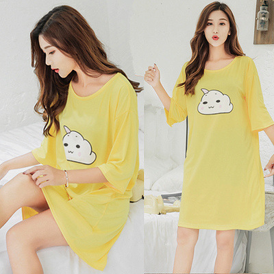 Short Sleeve Nightgown Women's Summer Nightgown Huang Yun Skirt M -Xxl 2019 New Style