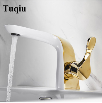 Basin Faucet White and Gold Bathroom Faucet Total brass Sink Mixer Tap Hot and Cold Crane for Bathroom Sink faucet Chrome  tap